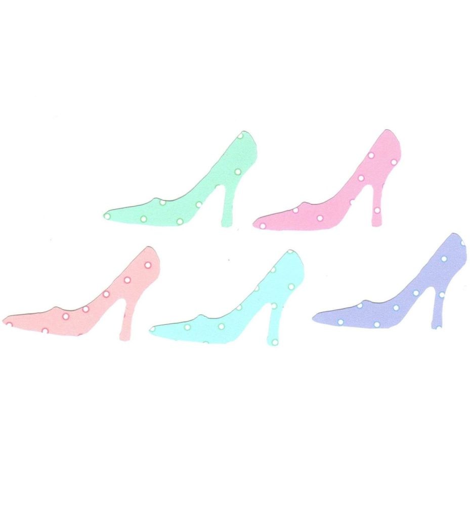 High Heels Stiletto Craft Embellishments in Pastel Polkadot x 20