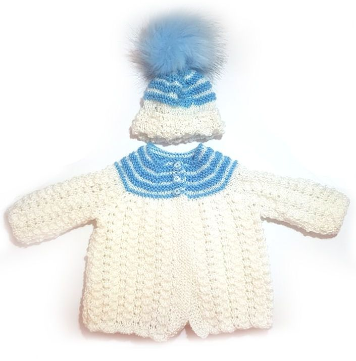 Baby Matinee Set, Pale Blue and White 0-3 Months
