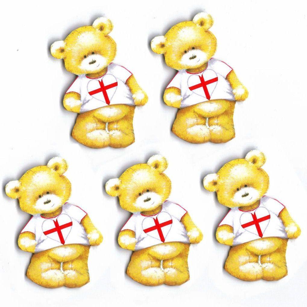 England Teddy Bear Card Toppers