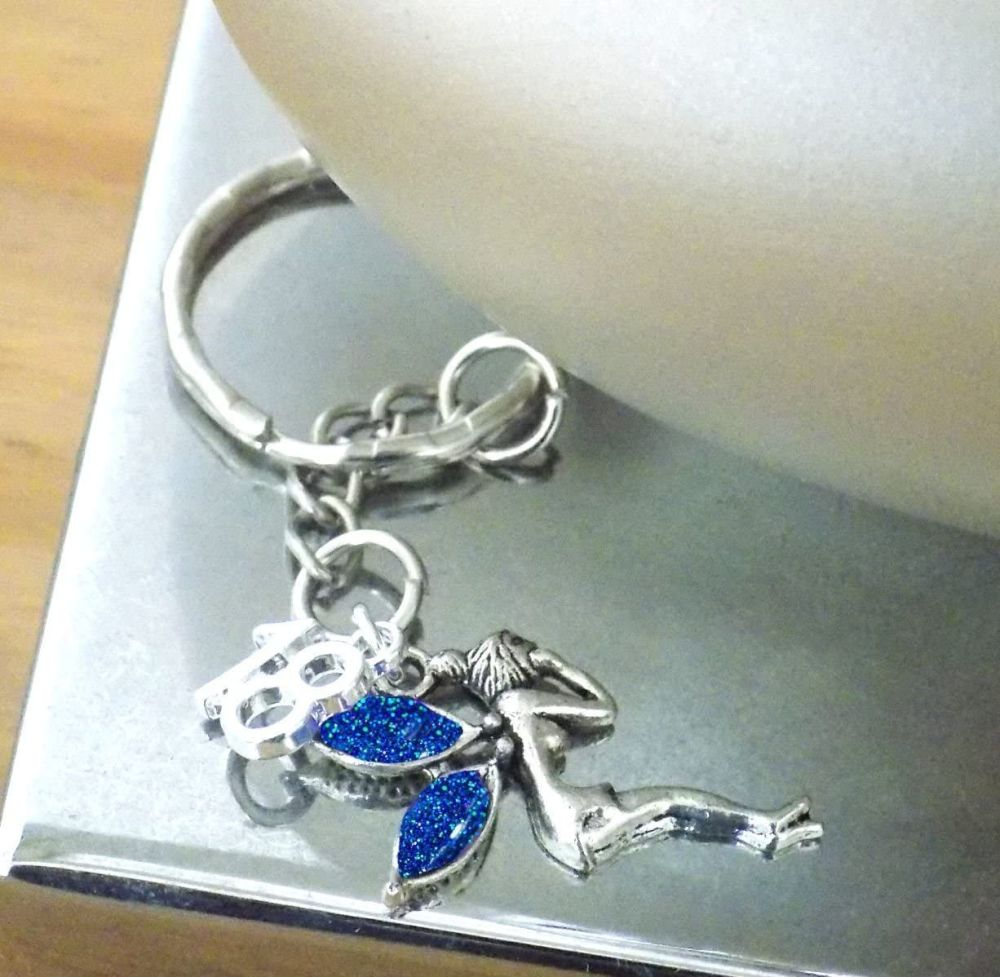 18th Birthday Fairy Keyring with Royal Blue Wings