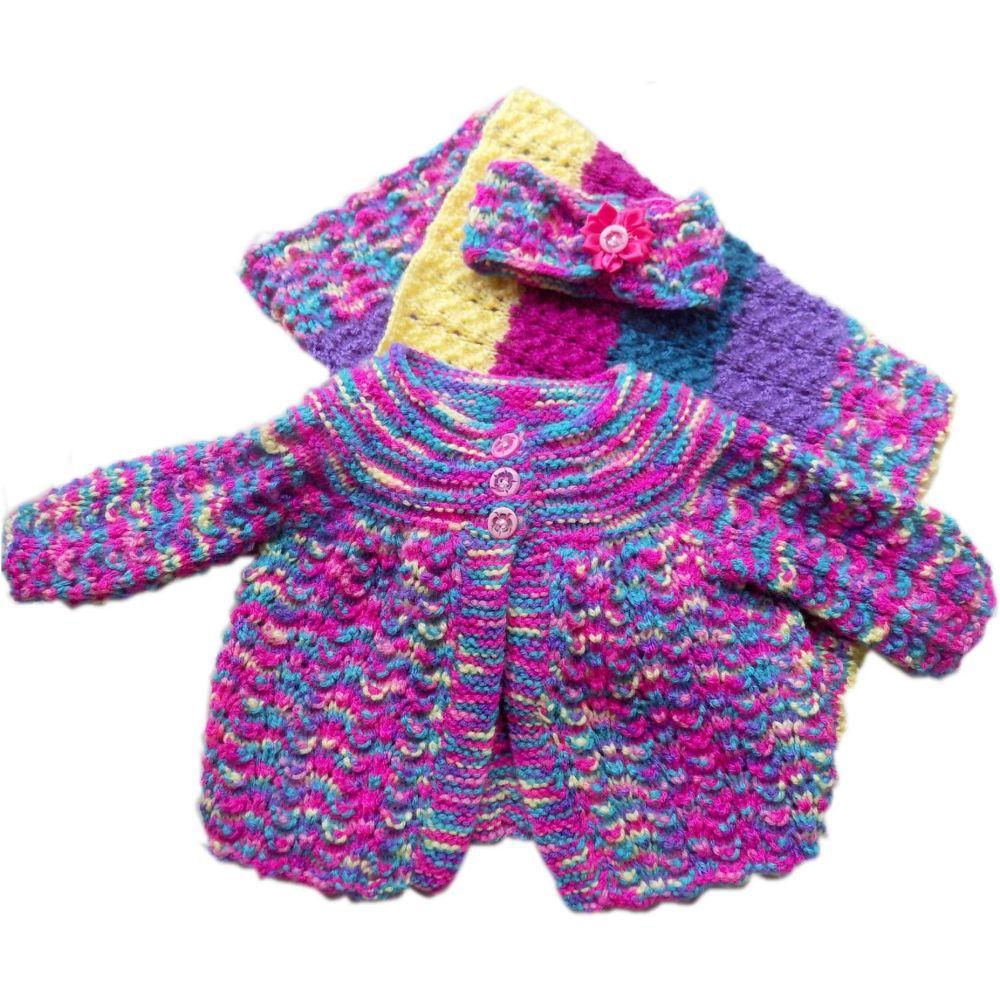 Baby Knitted Set - Mermaid Pink Purple design