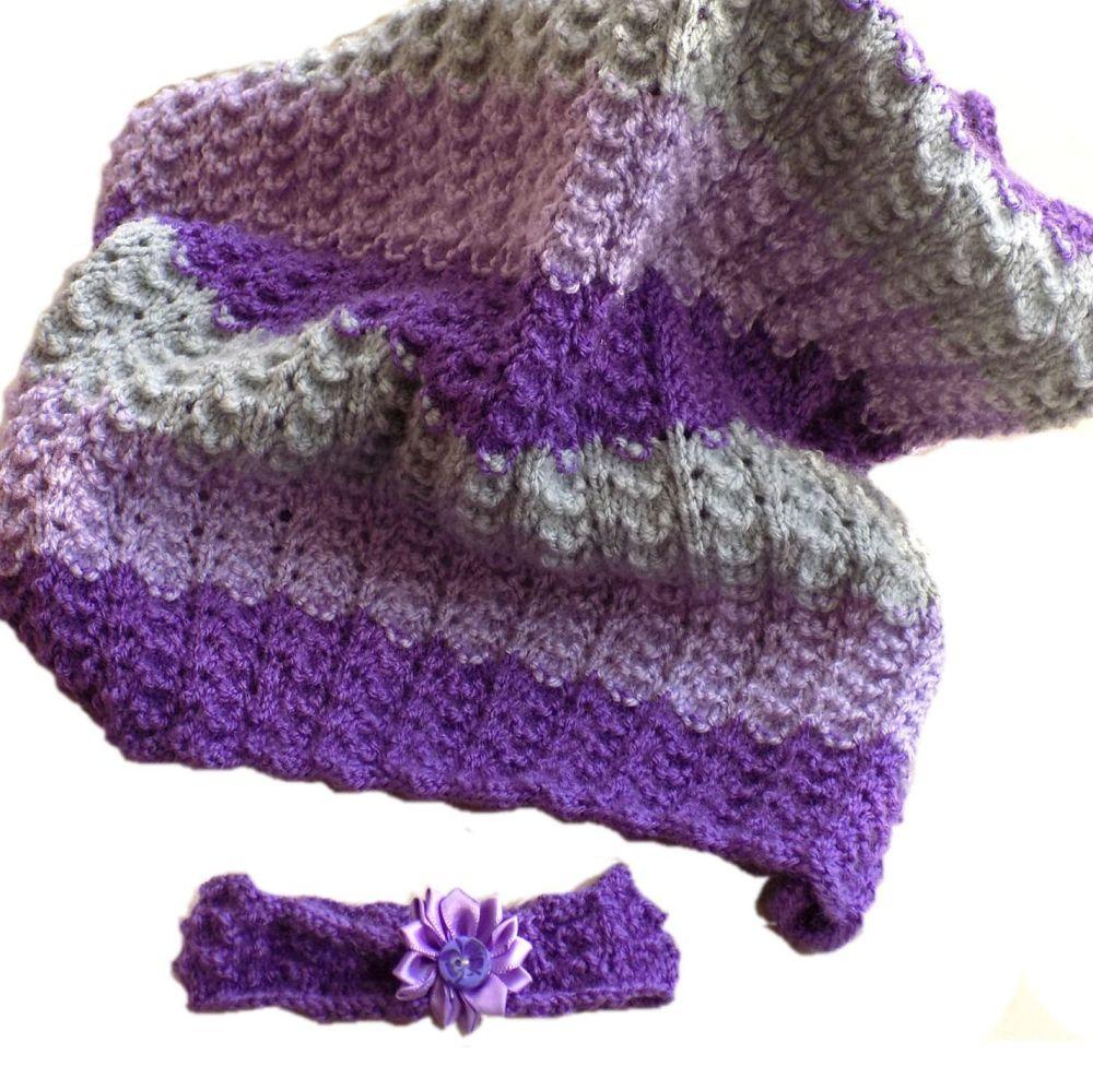 Baby Girl Purple Knitted Pram Blanket and Headband