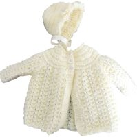 Cream Baby Matinee Set Knitted Coat and Bonnet Set