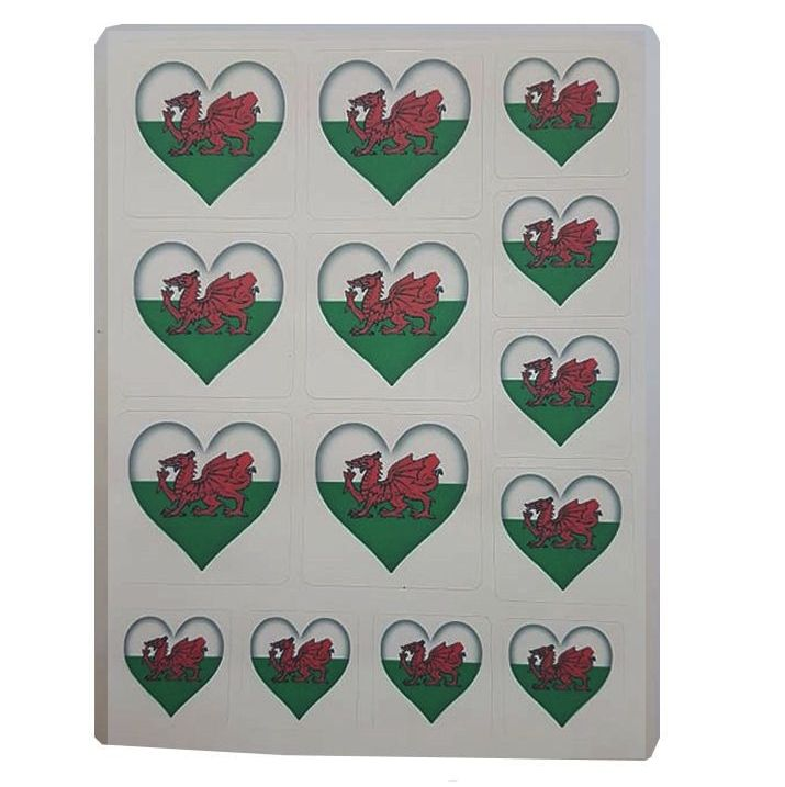 Wales Flag Heart Sticker Sentiments for Card Making and Crafts