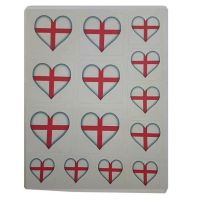 England Flag Heart Sticker Sentiments for Card Making and Crafts