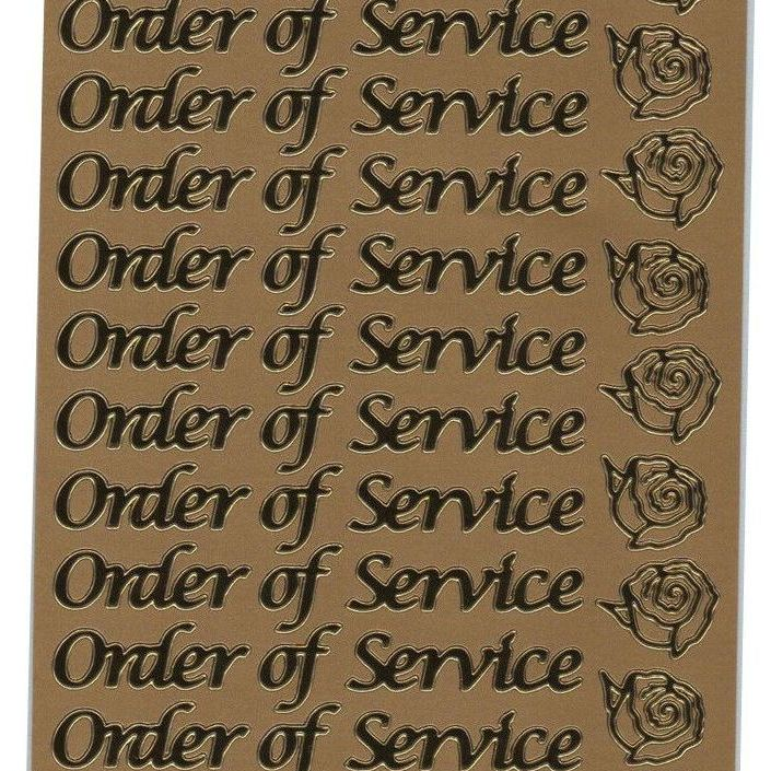 Anita's Order Of Service Gold Peel Off Stickers