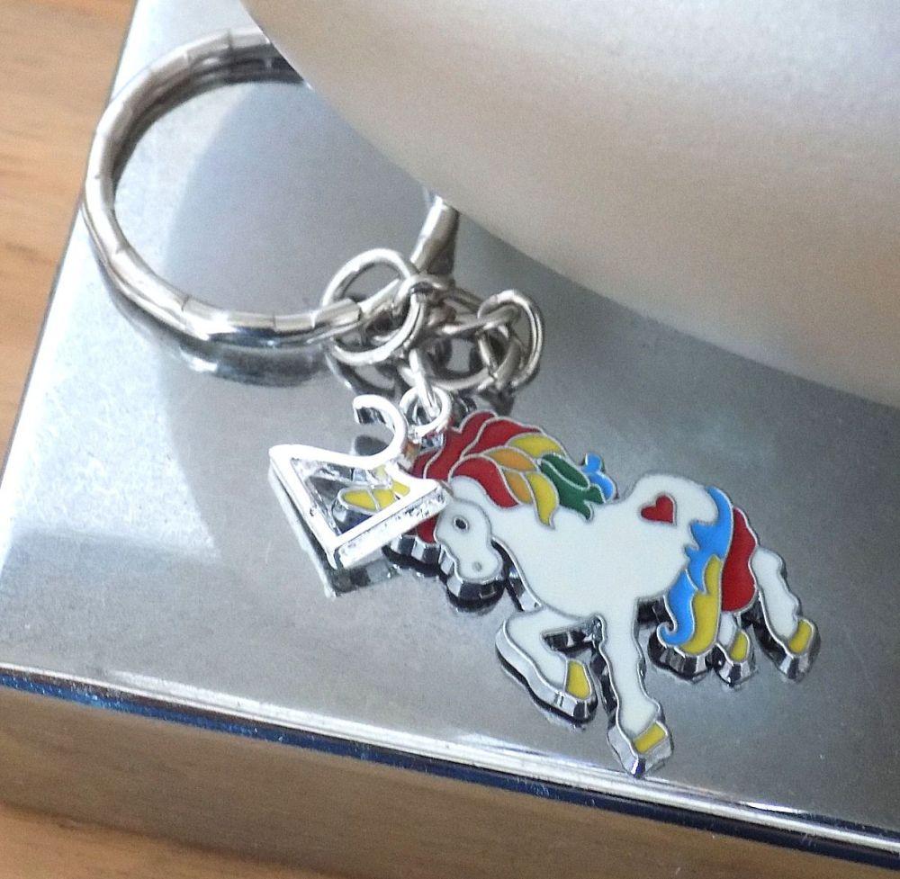 21st Birthday Unicorn Charm Silver Keyring