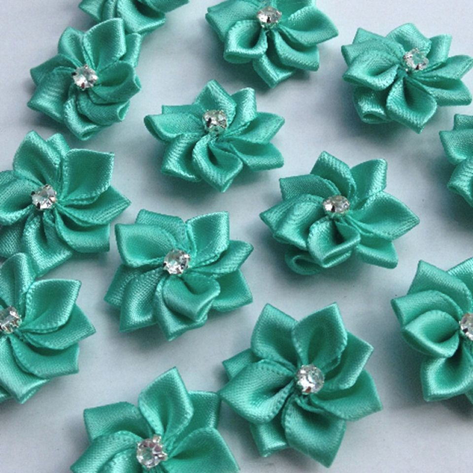 Green Flower Embellishments with Gems