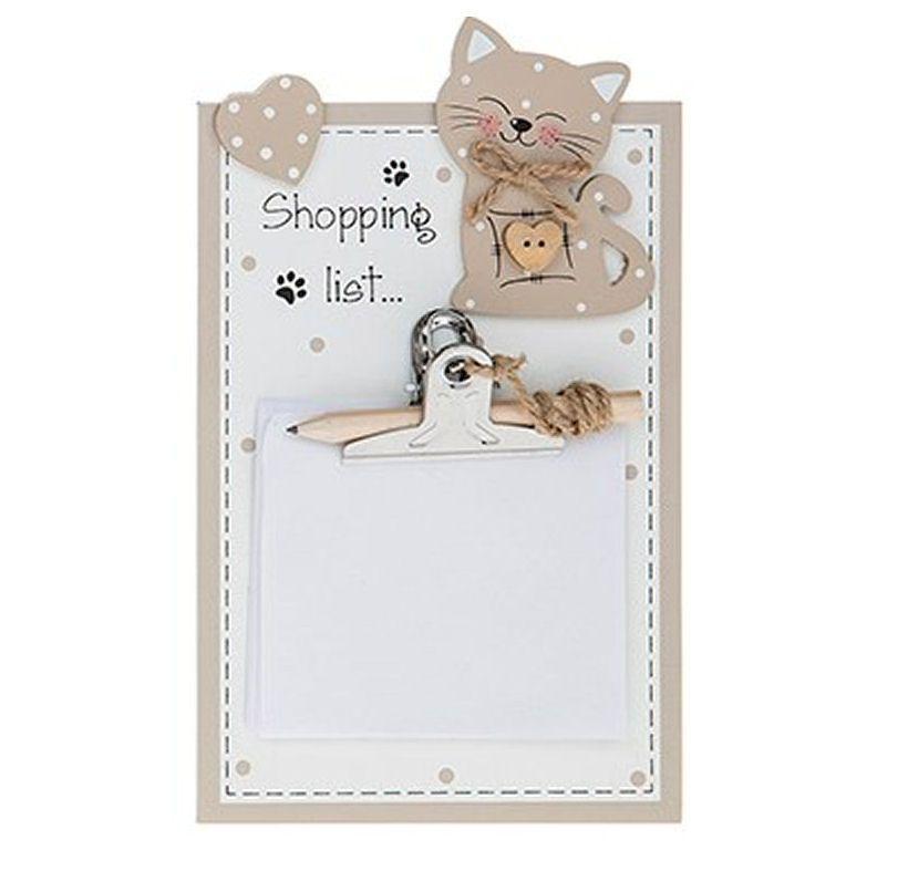 Cat Memo Pad Holder Plaque - Shopping List