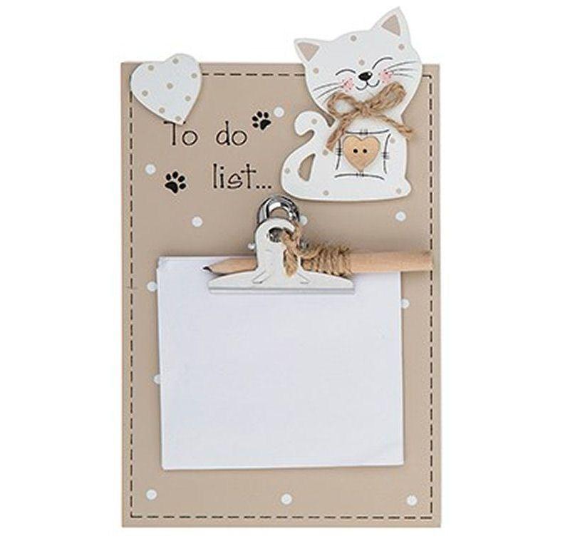 Cat Memo Pad Holder Plaque To Do