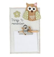 Owl Memo Pad Holder Plaque - Things to Remember