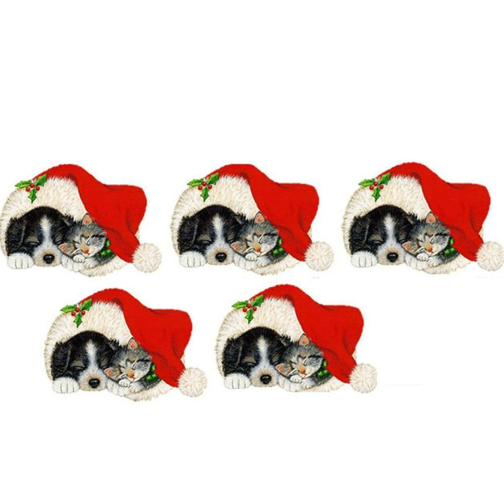 Christmas Kitten and Puppy Santa Hat Card Toppers