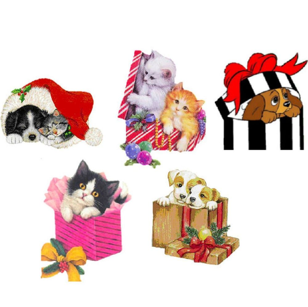 Christmas Puppy and Kitten Card Toppers