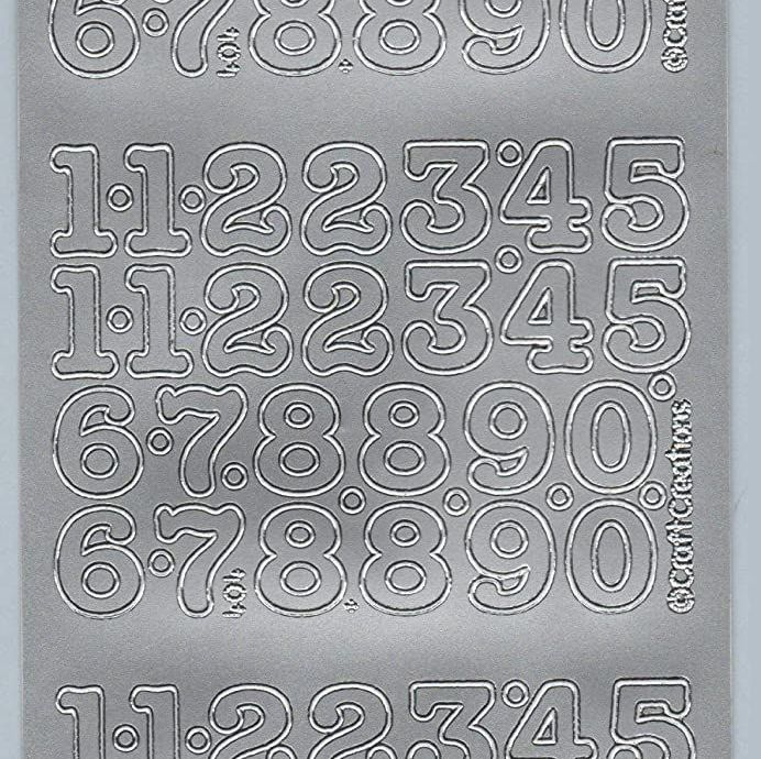 Silver Numbers Peel Off Stickers (15mms)