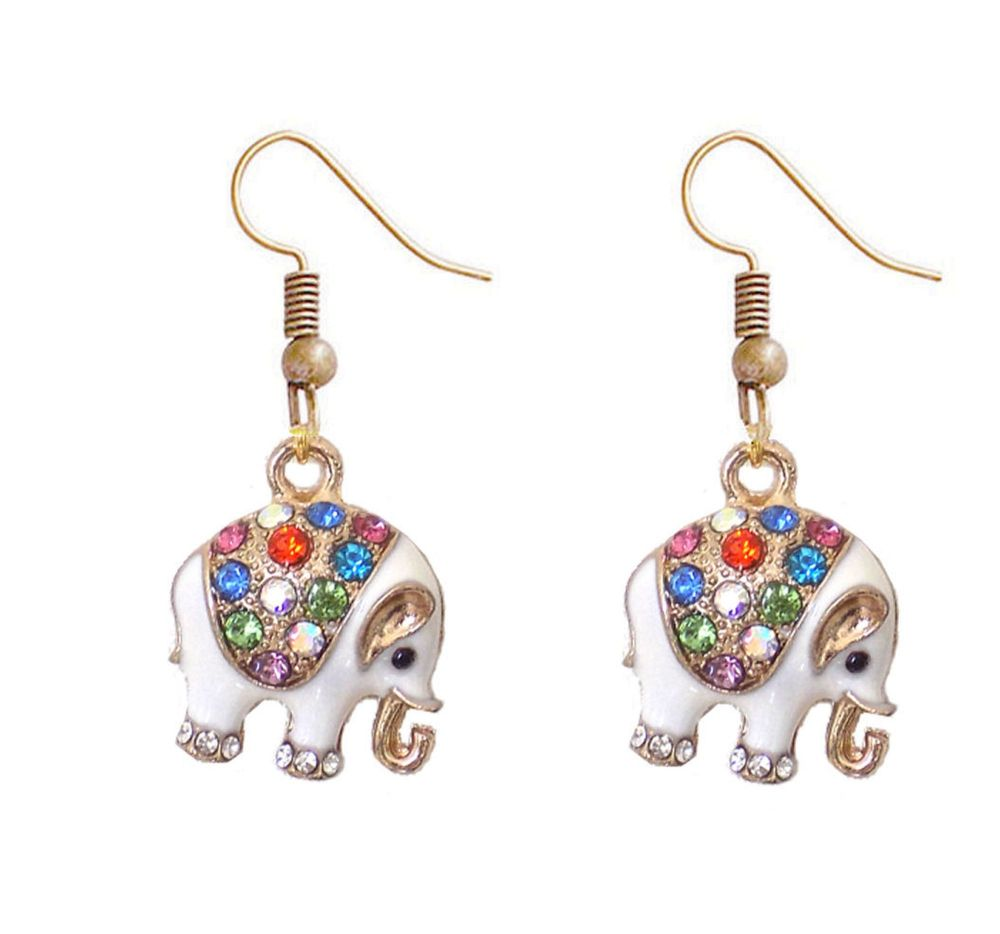 Elephant Earrings in White and Gold Shade - Handcrafted