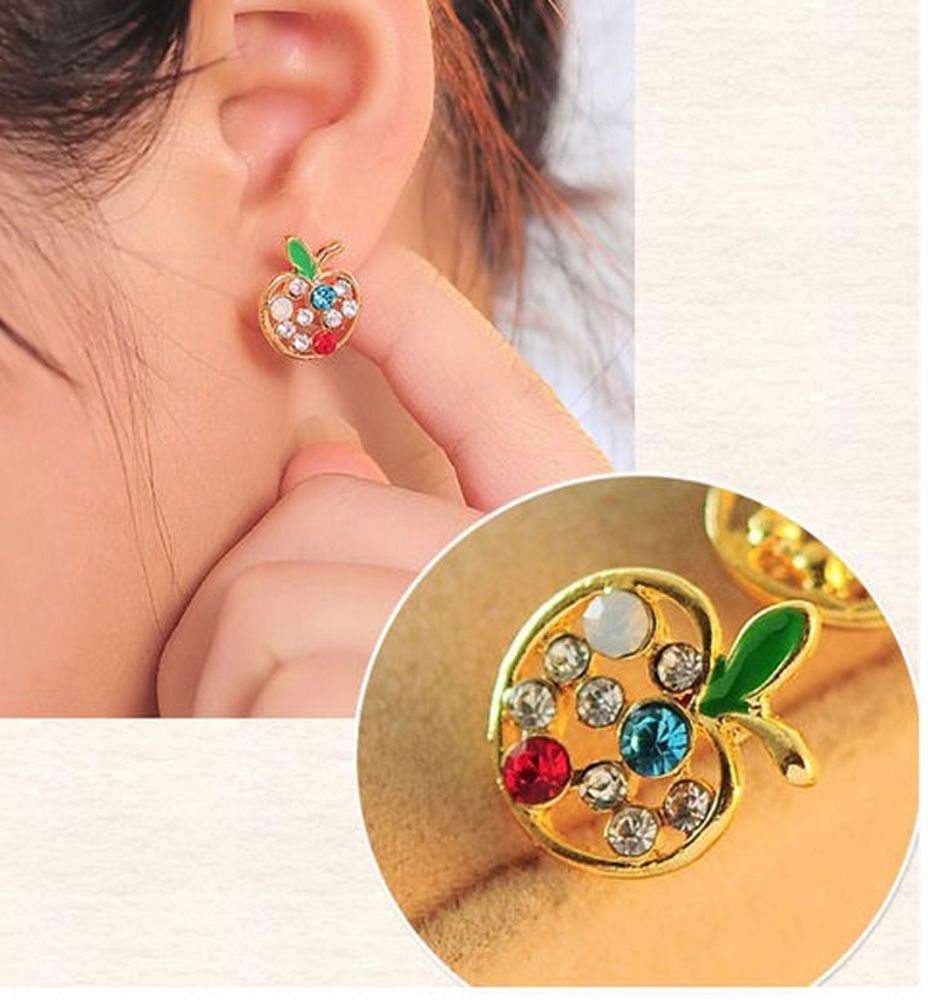 Apple Gold Stud Earrings with Colourful Rhinestones