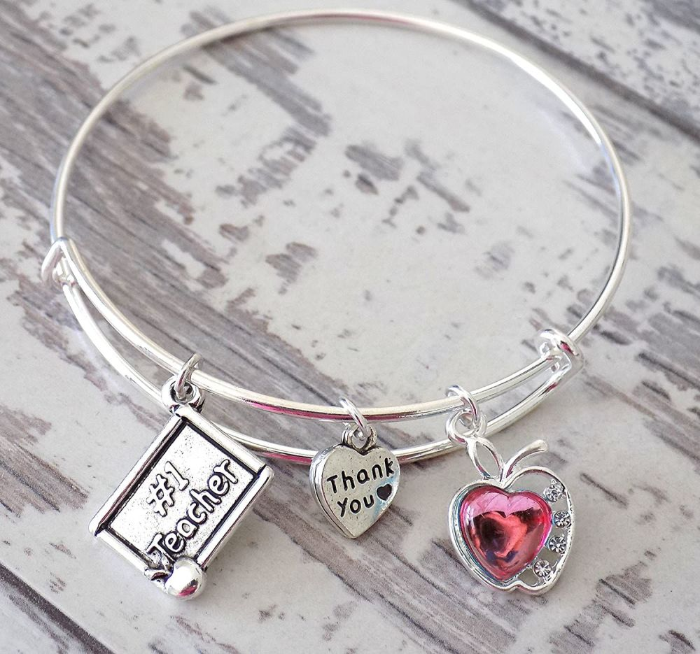 Silver Thank You Teacher Charm Bangle with Pink Apple Charm