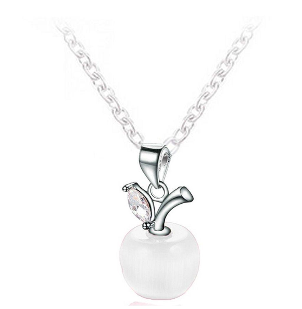 Silver and White Quartz Apple Pendant Necklace