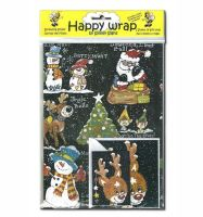 Christmas Happy Wrap Gift Wrapping Paper Set (Black)