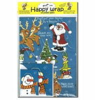 Christmas Happy Wrap Gift Wrapping Paper Set (Blue)
