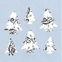 Christmas Tree Craft Embellishments x 24, Black and White Swirl Die cuts