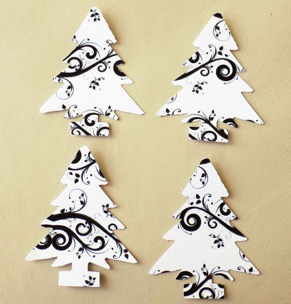 Christmas Tree Craft Embellishments x 20 Black and White Swirl Die cuts