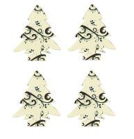 Christmas Tree Craft Embellishments x 20 Black and Cream Swirl Die cuts