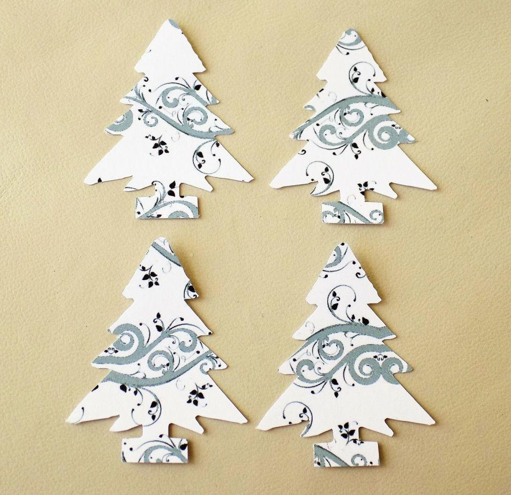 Christmas Tree Craft Embellishments x 20 Silver and White Swirl Die cuts