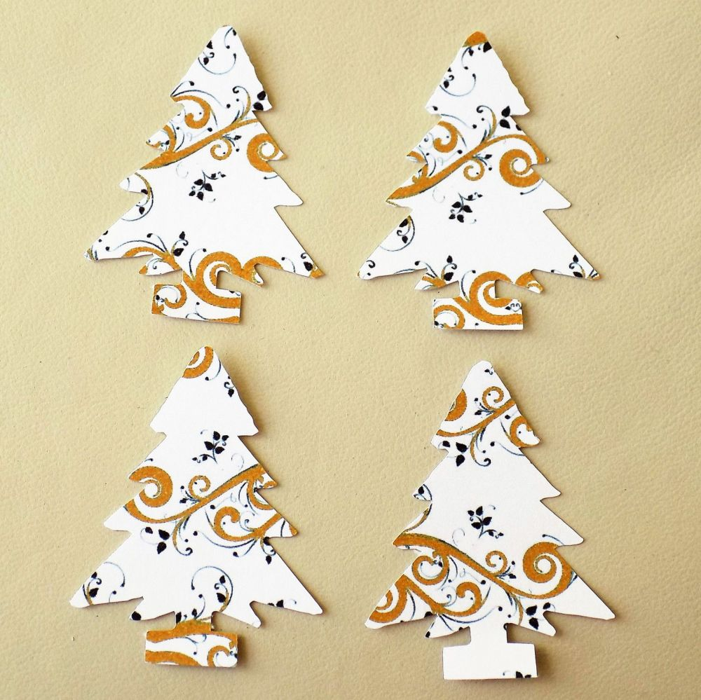 Christmas Tree Craft Embellishments x 20 Gold and White Swirl Die cuts