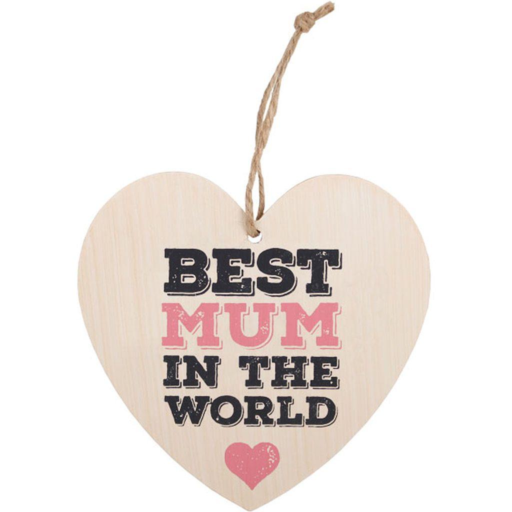 Best Mum Hanging Wooden Heart Plaque