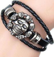 Men's Black Leather Gothic Skull Design Bracelet