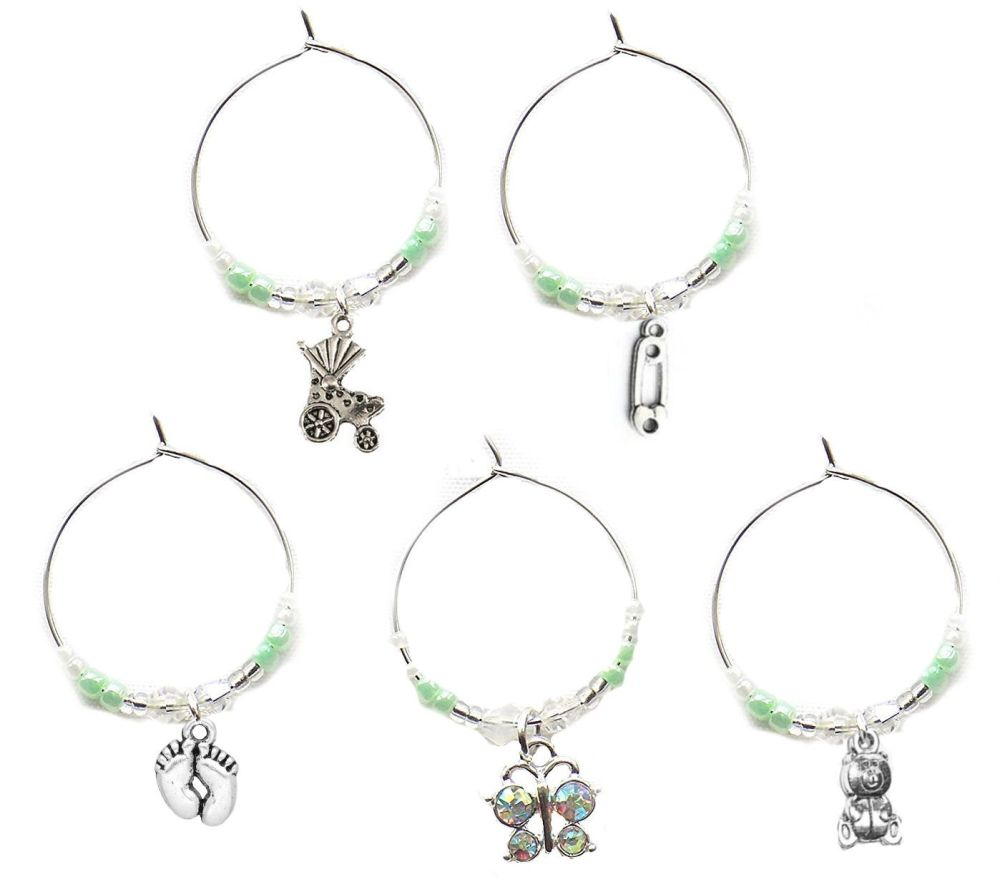 Baby Wine Glass Charms, Set of 5 in a Generic Mint Theme