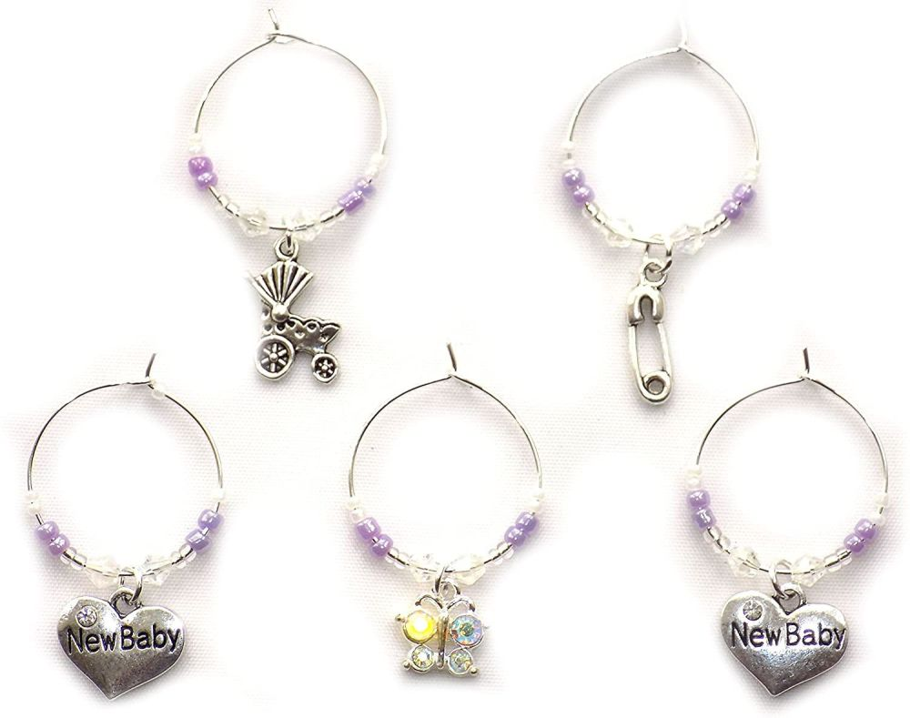 Baby Wine Glass Charms, Set of 5 in a Lilac Theme