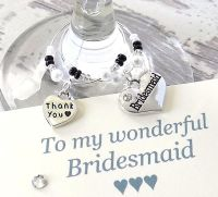 Bridesmaid Gift, Personalised Wine Glass Charms