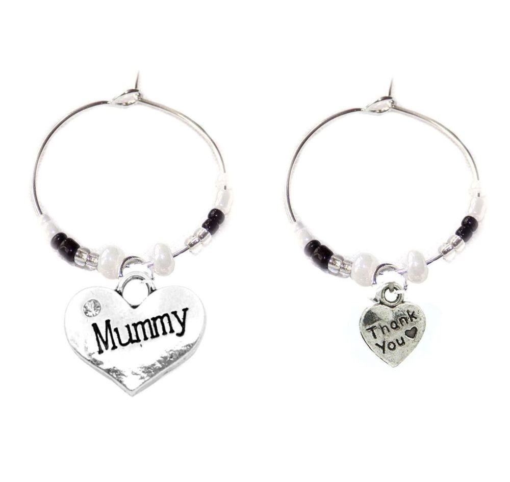 Mummy Thank You Wine Glass Charms