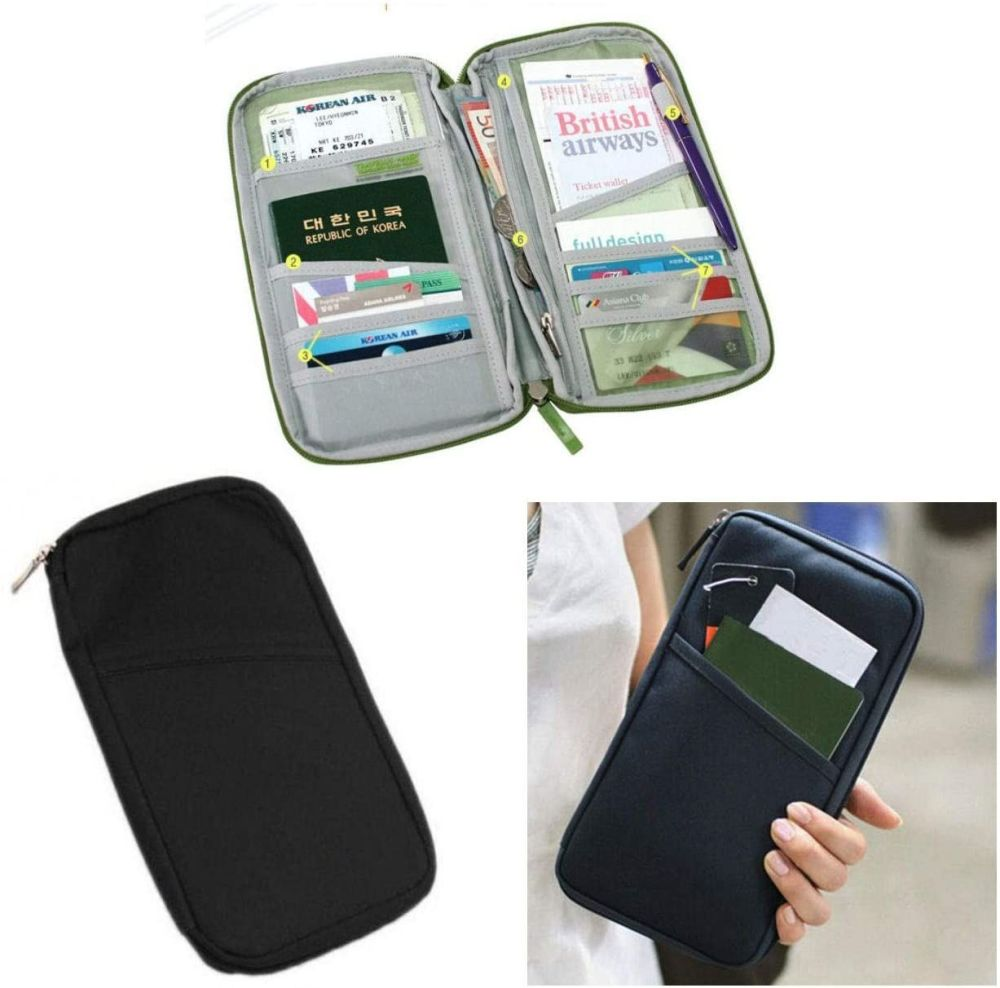 Travel Organiser for your Passport, Tickets, Boarding Pass in Black