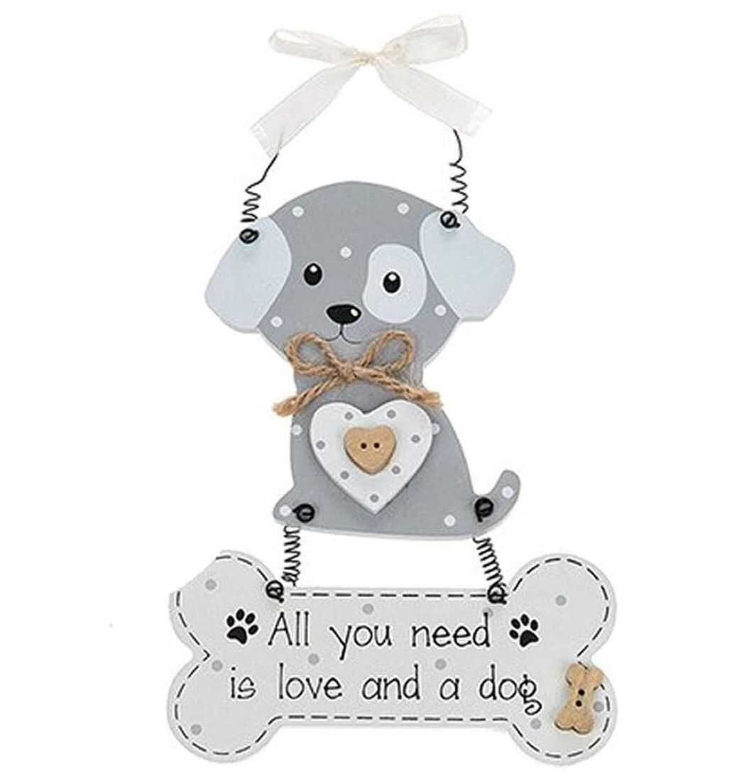 Dangly Bone Plaque - All you need is love and a dog
