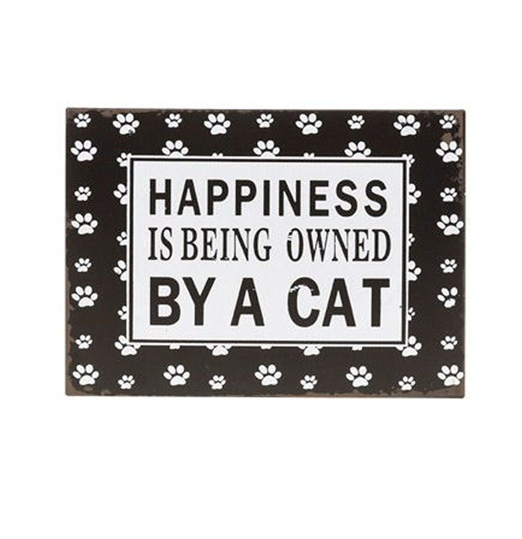 Cat Paw Print Metal Plaque - Happiness is...