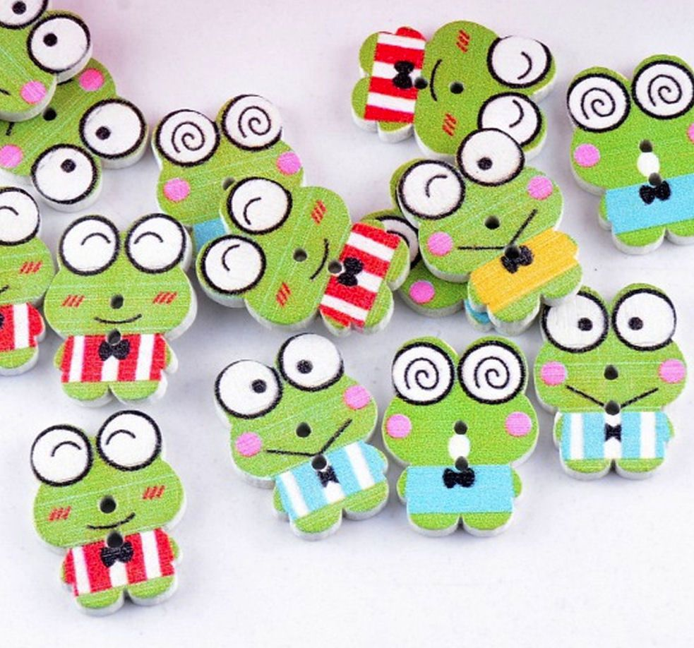 Frogs Wooden Style Craft Embellishments x 8