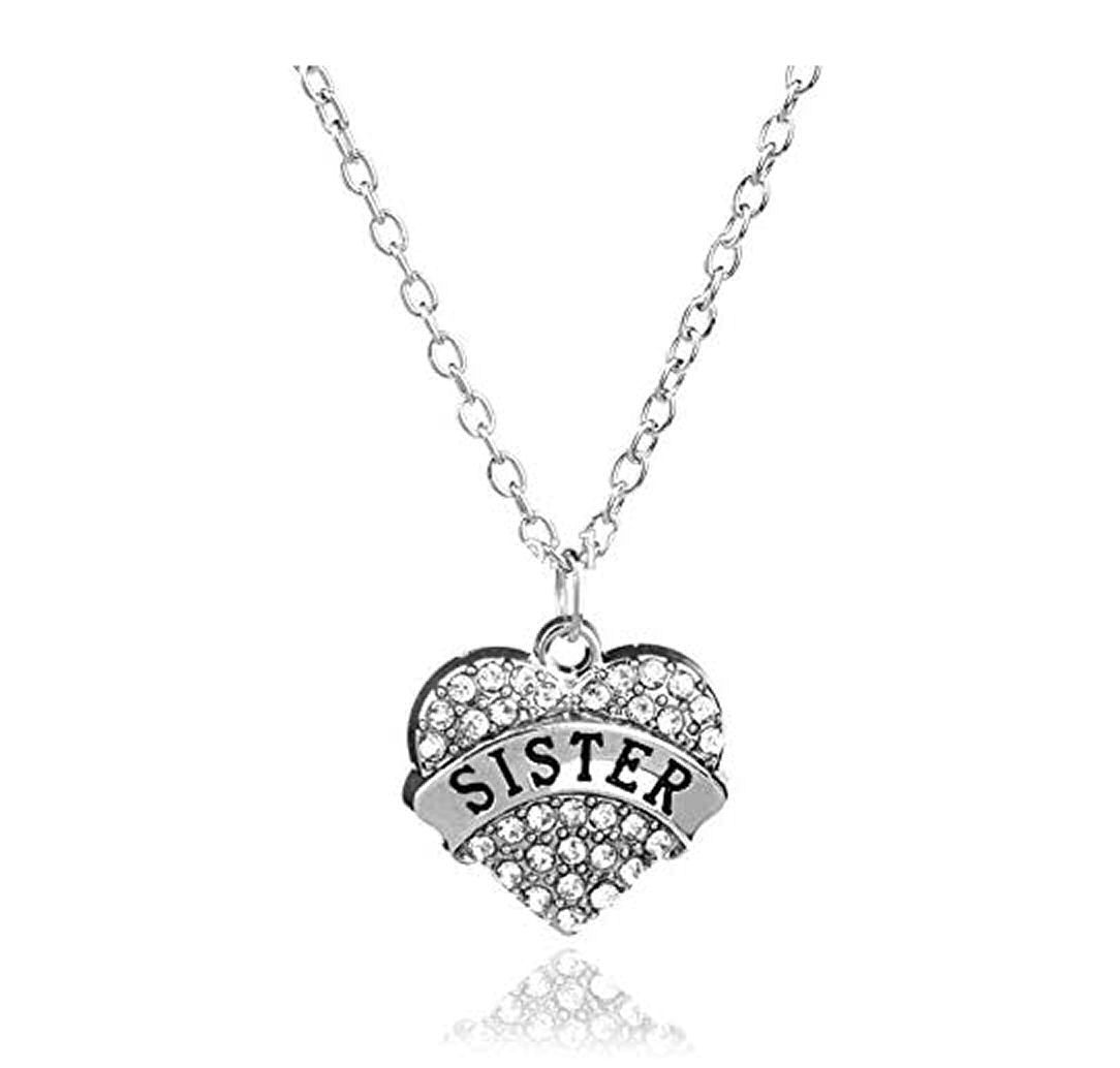 Sister Pendant Necklace in Silver with Rhinestone Gems