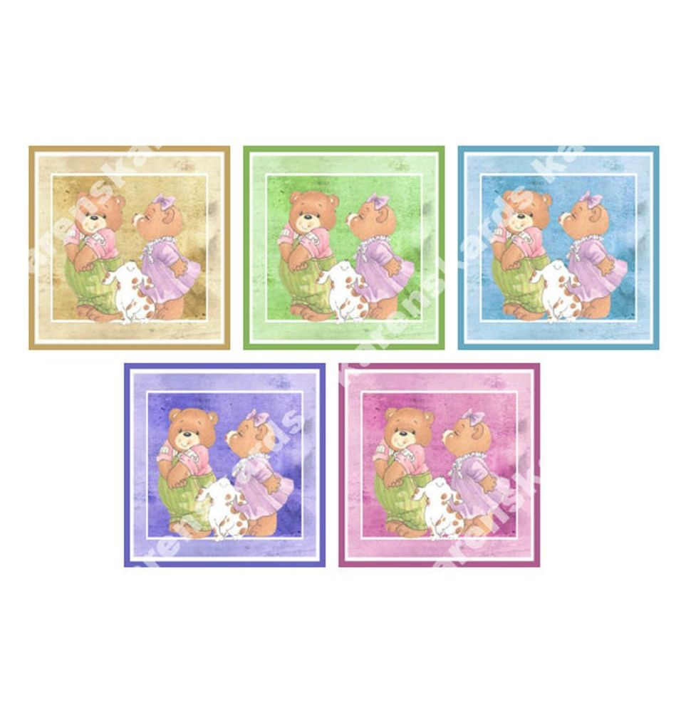 Teddy Bear in Love Card Making Toppers Embellishments x 5
