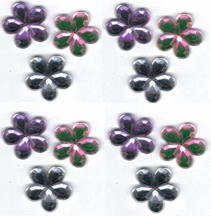Flower Gems in Lilac, Pink and Silver x 12
