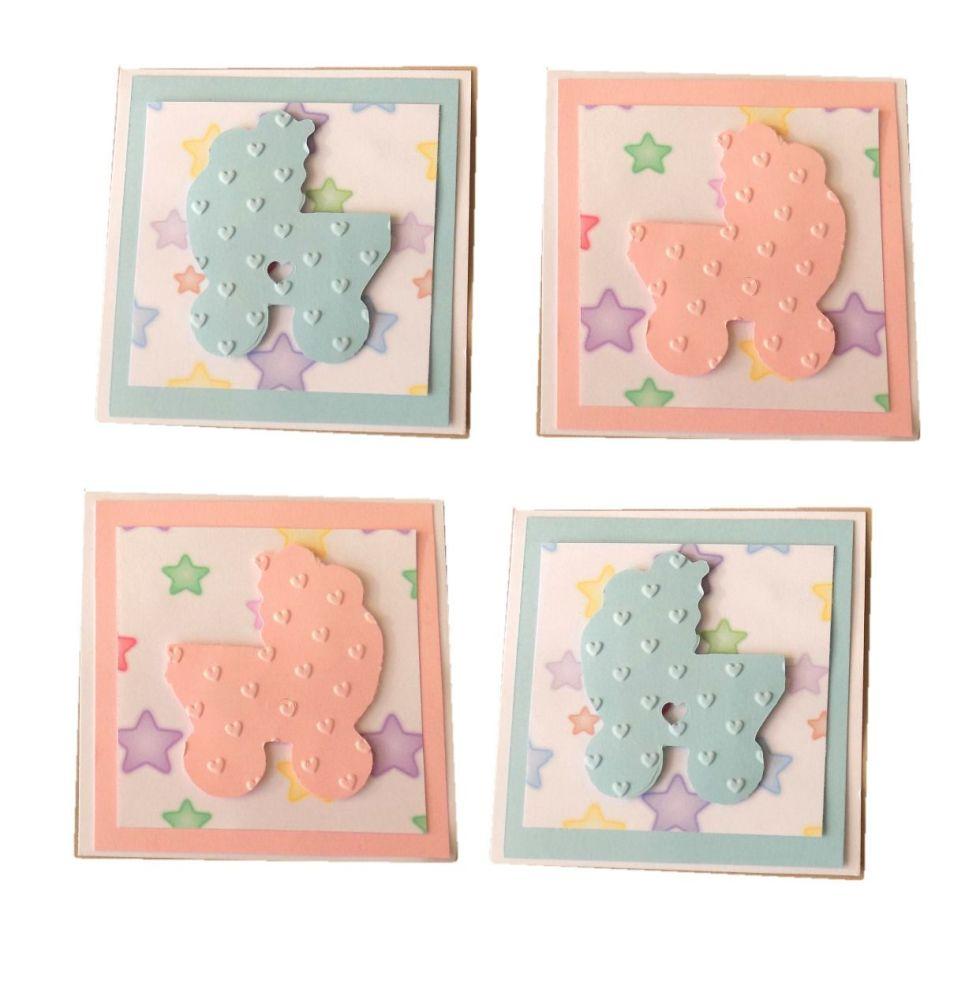 Baby Embossed Pram Card Making Topper Embellishments x 4