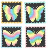 Butterfly Rainbow Card Making Topper Embellishments x 4