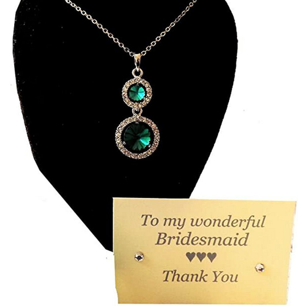 Green Bridesmaid Heart Pendant Necklace, Thank You Card and Gift Box