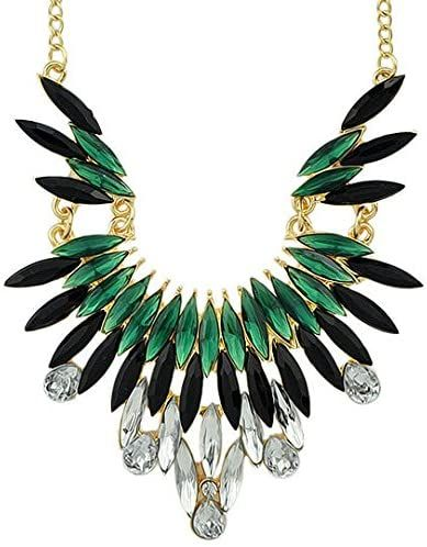 Green and Black Gemstone Wing Style Gold Statement Necklace