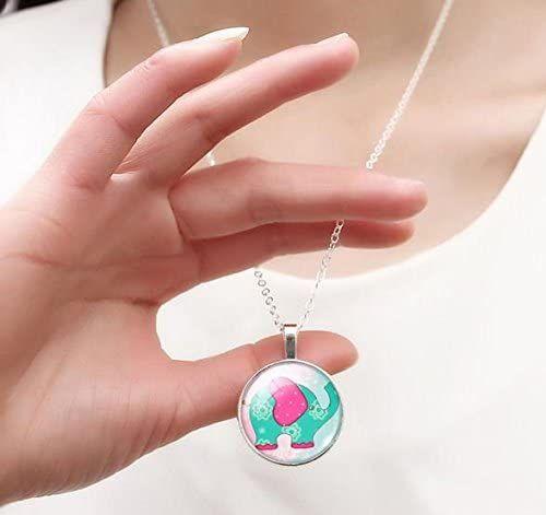 Elephant Pendant Necklace - Glass Dome
