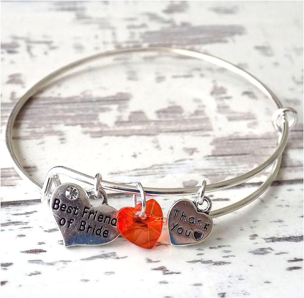 Best Friend of Bride Charm Bracelet Thank You Gift