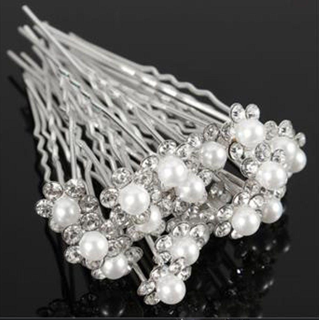 Bridal Pearl Flower Crystal Hairpin Hair Grips x 10