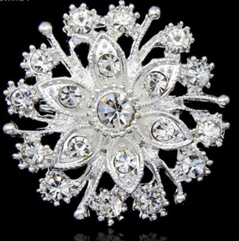 Silver Bridal Rhinestone Brooch